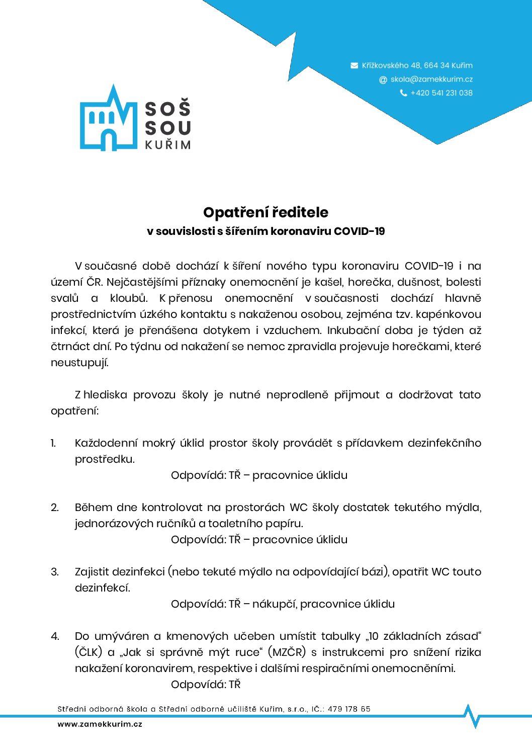 Opatření ředitele v souvislosti s šířením koronaviru COVID-19